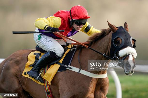 Jonjo O'Neill Jr riding Native River clear the last to win The Betfair Denman Chase at Newbury Racecourse on February 08 2020 in Newbury England
