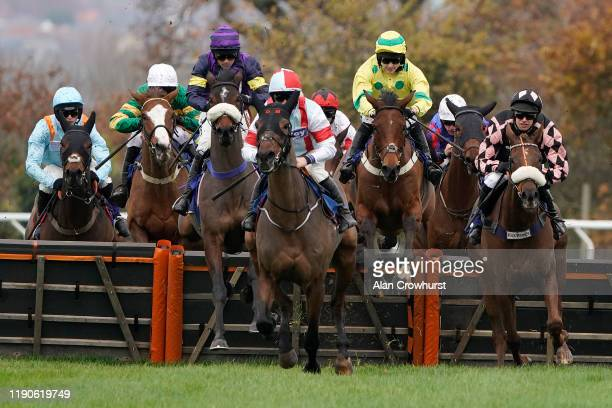 Jonjo O'Neill Jr riding Who Shot JR on their way to winning The Annual Membership 2020 Available Today 'National Hunt' Novices' Hurdle at Taunton...