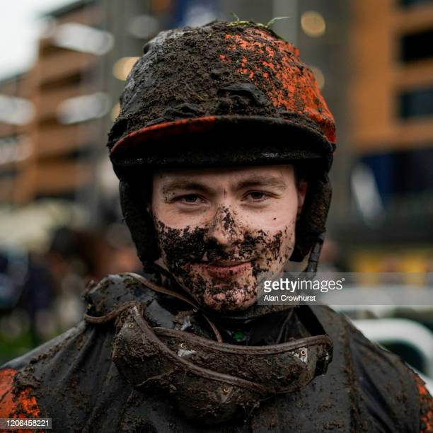 Jonjo O'Neill poses on a wet and muddy day at Ascot Racecourse on February 15 2020 in Ascot England