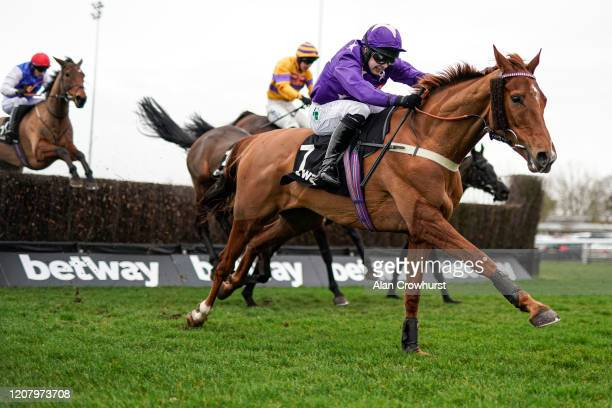 Jonjo O'Neill riding Mister Malarkey clear the last to win The Betway Handicap Chase at Kempton Park Racecourse on February 22, 2020 in Sunbury,...