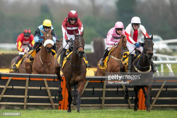 Jonjo O'Neill riding Soaring Glory clear the last to win The Betfair Hurdle at Newbury Racecourse on February 21, 2021 in Newbury, England. Due to...