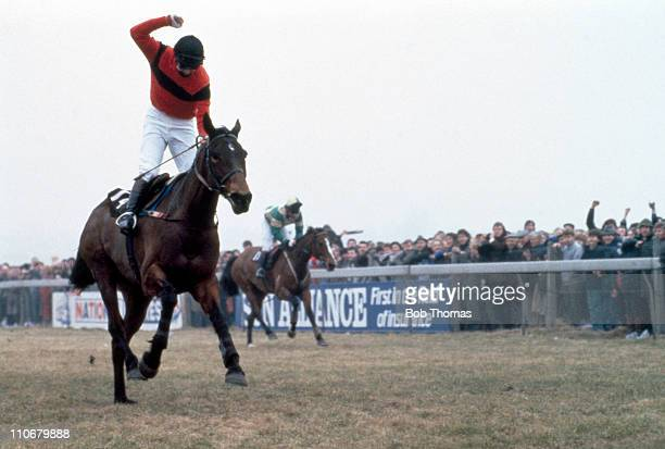 Jonjo O'Neill wins the Gold Cup on Dawn Run during the Cheltenham National Hunt Festival on 13th March 1986 Dawn Run became the first horse to...
