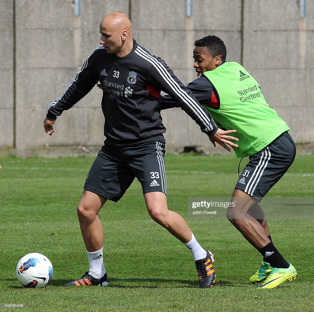 Jonjo Shelvey and Raheem Stearling of Liverpool in action during a training session at Melwood Training Ground on April 20, 2012 in Liverpool, England.