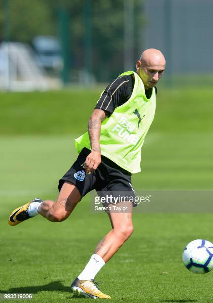 Jonjo Shelvey controls the ball during the Newcastle United Training Session at the Newcastle United Training Centre on July 7 in Newcastle upon Tyne...