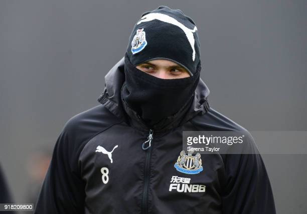Jonjo Shelvey during the Newcastle United Training session at The Newcastle United Training Centre on February 14 in Newcastle upon Tyne England