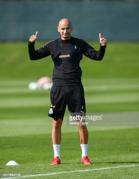 Jonjo Shelvey gives the thumbs up during the Newcastle United Training Session at the Newcastle United Training Centre on August 16 in Newcastle upon...
