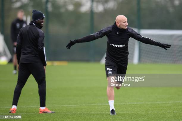 Jonjo Shelvey holds his arms out as he scores the winning goal during the Newcastle United Training Session at the Newcastle United Training Centre...