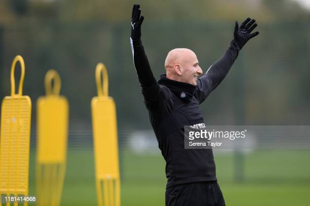 Jonjo Shelvey holds his arms up as he scores the winning goal during the Newcastle United Training Session at the Newcastle United Training Centre on...