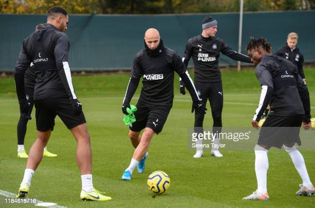 Jonjo Shelvey in the middle of a game of boxes during the Newcastle United Training Session at the Newcastle United Training Centre on October 31,...