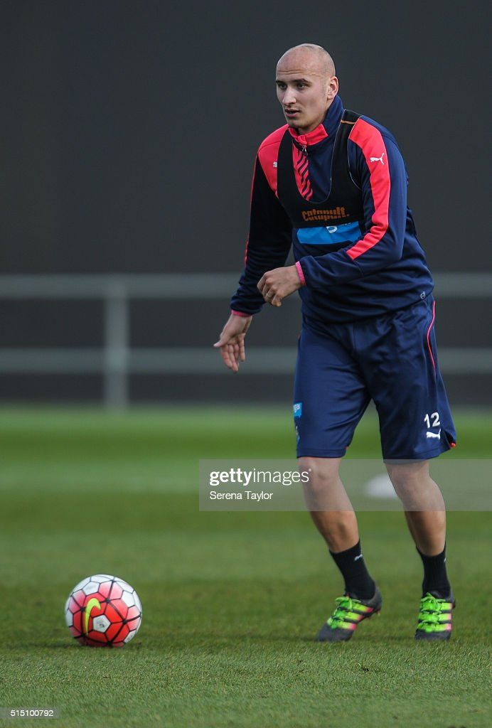 Jonjo Shelvey looks to pass the ball during the Newcastle United training session at The Newcastle United Training Centre on March 12, 2016, in Newcastle upon Tyne, England.