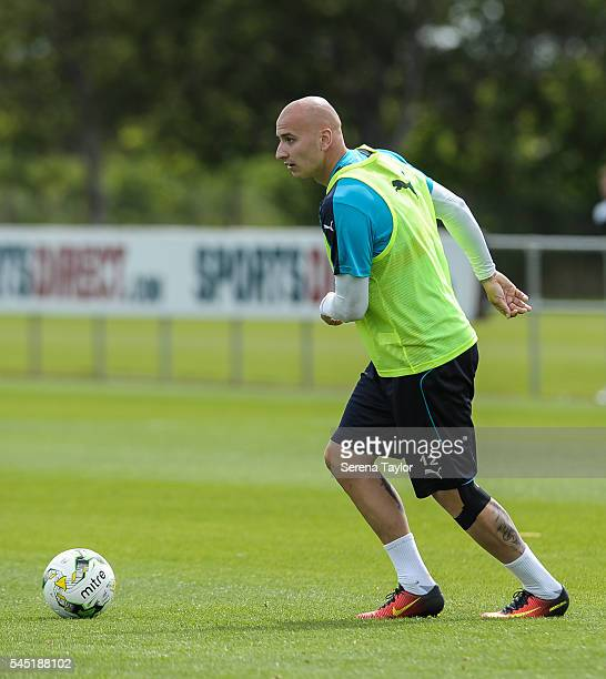 Jonjo Shelvey looks to pass the ball during the Newcastle United Training session at The Newcastle United Training Centre on July 6 in Newcastle upon...