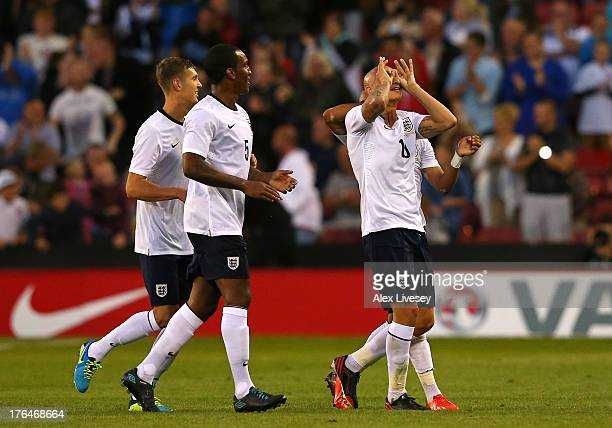 Jonjo Shelvey of England U21 celebrates after scoring his goal during the Kick It Out International between England U21 and Scotland U21 at Bramall...