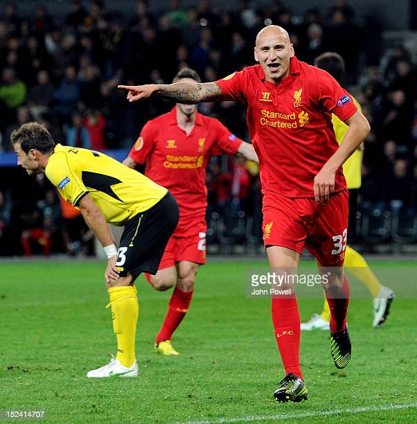 Jonjo Shelvey of Liverpool celebrates after scoring during the UEFA Europa League match between BSC Young Boys and Liverpool FC at Stade de Suisse...