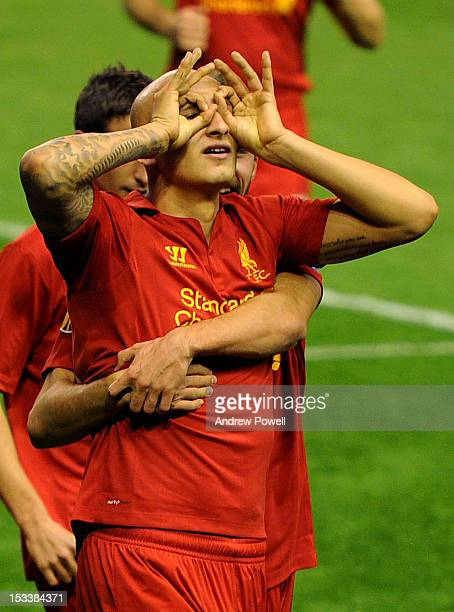 Jonjo Shelvey of Liverpool celebrates his goal during the UEFA Europa League group stage match between Liverpool and Udinese on October 4 2012 in...