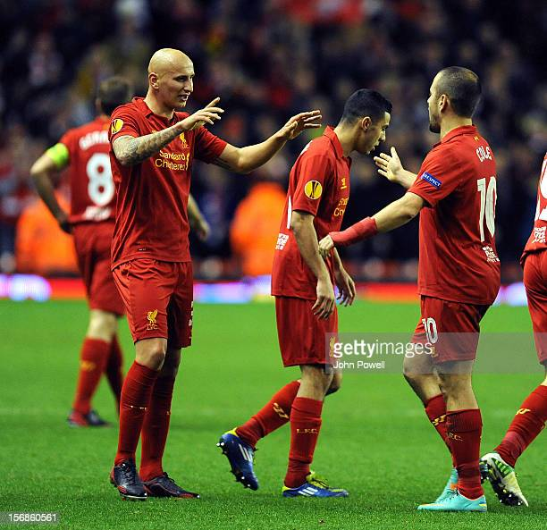Jonjo Shelvey of Liverpool celebrates his goal during the UEFA Europa League Group A match between Liverpool and BSC Young Boys at Anfield on...
