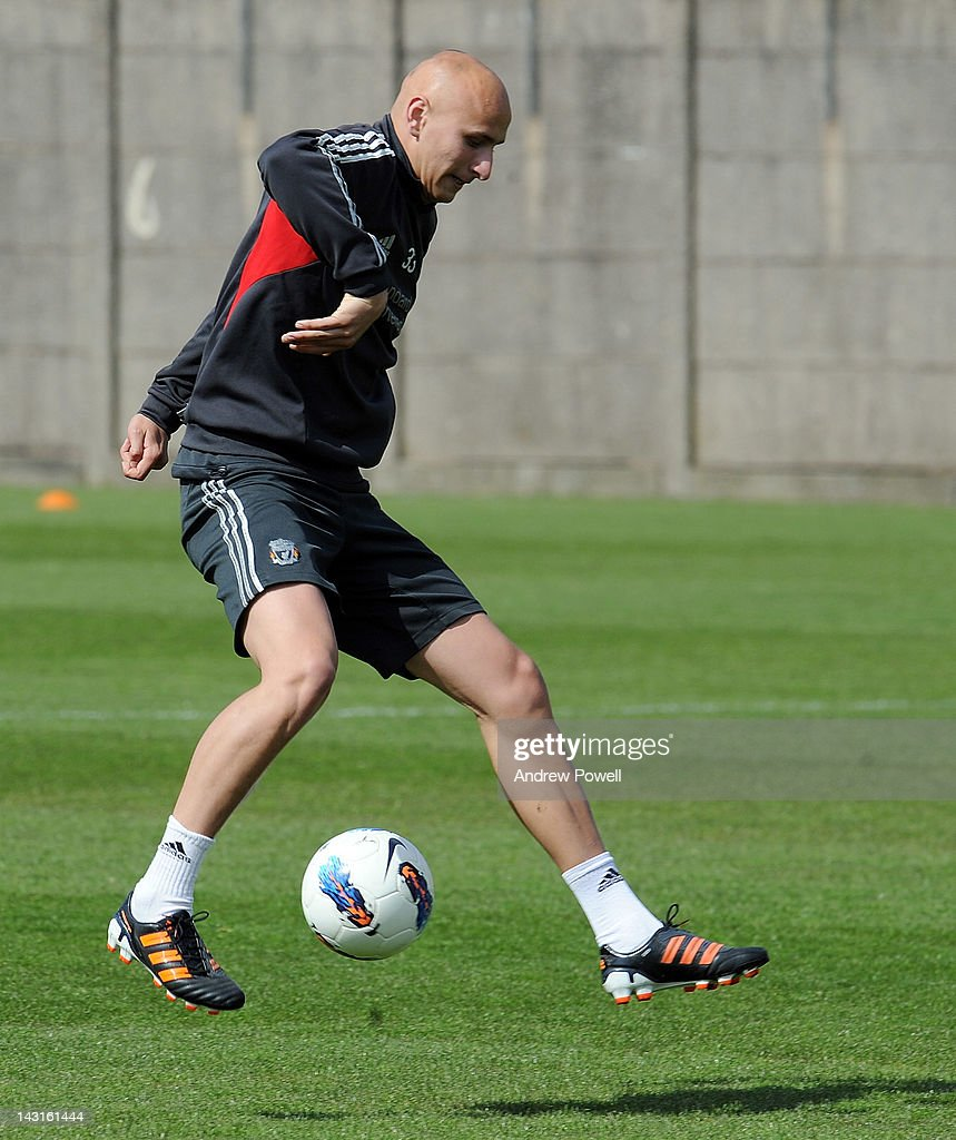 Jonjo Shelvey of Liverpool in action during a training session at Melwood Training Ground on April 20, 2012 in Liverpool, England.