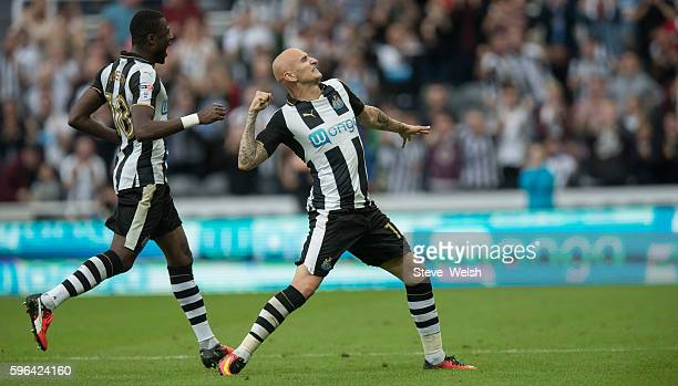 Jonjo Shelvey of Newcastle celebrates his goal during the Sky Bet Championship match between Newcastle United and Brighton Hove Albion on August 27...