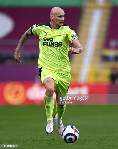 Jonjo Shelvey of Newcastle on the ball during the Premier League match between Burnley and Newcastle United at Turf Moor on April 11, 2021 in...