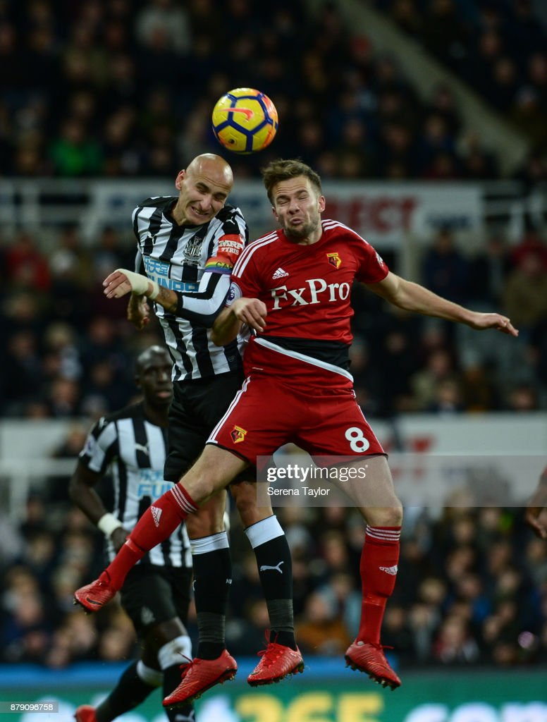 Jonjo Shelvey of Newcastle United (08) and Tom Cleverley of Watford (8) challenge to win a header during the Premier League match between Newcastle United and Watford F.C. at St.James' Park on November 25, 2017, in Newcastle upon Tyne, England.
