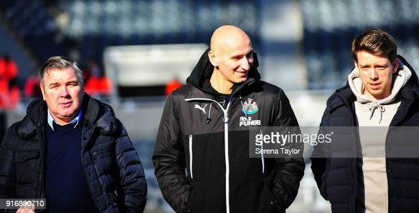 Jonjo Shelvey of Newcastle United arrives for the Premier League match between Newcastle United and Manchester United at StJames' Park on February 11...