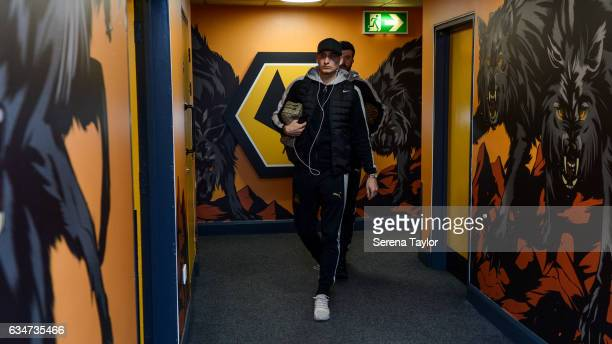 Jonjo Shelvey of Newcastle United arrives in the wolves tunnel prior to kick off of the Sky Bet Championship match between Wolverhampton Wanderers...