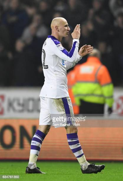 Jonjo Shelvey of Newcastle United blows a kiss towards the fans of Wolverhampton Wanderers at full time of the Sky Bet Championship match between...
