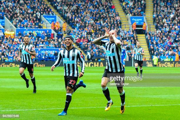 Jonjo Shelvey of Newcastle United celebrates after he scores the opening goal during the Premier League Match between Leicester City and Newcastle...