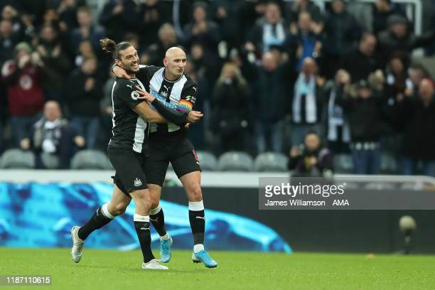 Jonjo Shelvey of Newcastle United celebrates after scoring a goal to make it 1-1 with Andy Carroll during the Premier League match between Newcastle...