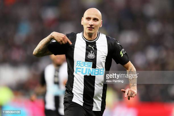 Jonjo Shelvey of Newcastle United celebrates after scoring his team's third goal during the Premier League match between West Ham United and...