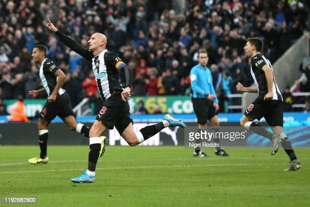 Jonjo Shelvey of Newcastle United celebrates after scoring his team's first goal during the Premier League match between Newcastle United and...