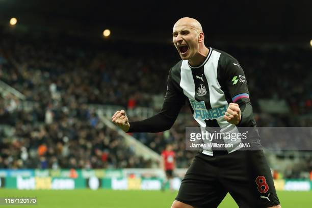 Jonjo Shelvey of Newcastle United celebrates at full time of the Premier League match between Newcastle United and Southampton FC at St James Park on...