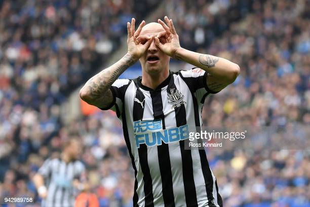 Jonjo Shelvey of Newcastle United celebrates scoring his side's first goal during the Premier League match between Leicester City and Newcastle...