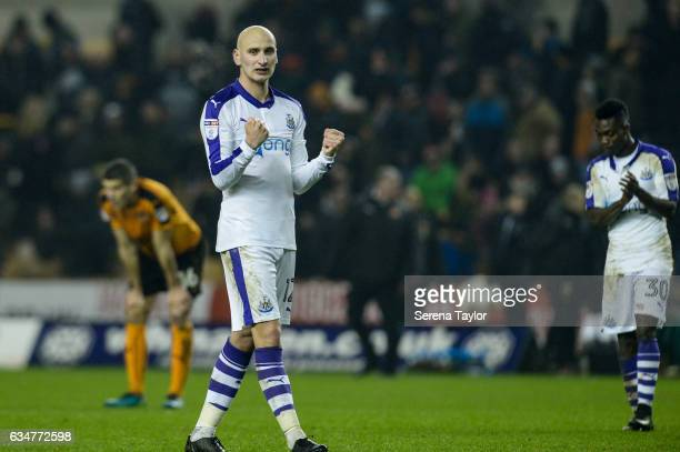 Jonjo Shelvey of Newcastle United celebrates to fans after Newcastle win the Sky Bet Championship match between Wolverhampton Wanderers and Newcastle...