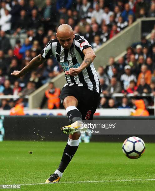 Jonjo Shelvey of Newcastle United controls the ball during the Premier League match between Newcastle United and Stoke City at St James Park on...