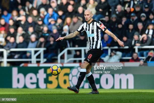 Jonjo Shelvey of Newcastle United controls the ball during the Premier League match between Newcastle United and Manchester United at StJames' Park...