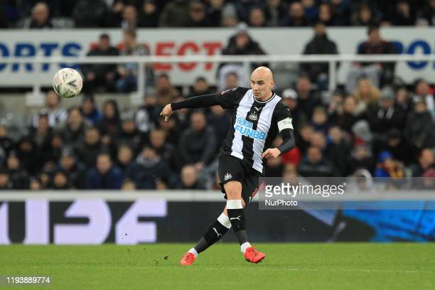 Jonjo Shelvey of Newcastle United during the FA Cup match between Newcastle United and Rochdale at St James's Park Newcastle on Tuesday 14th January...