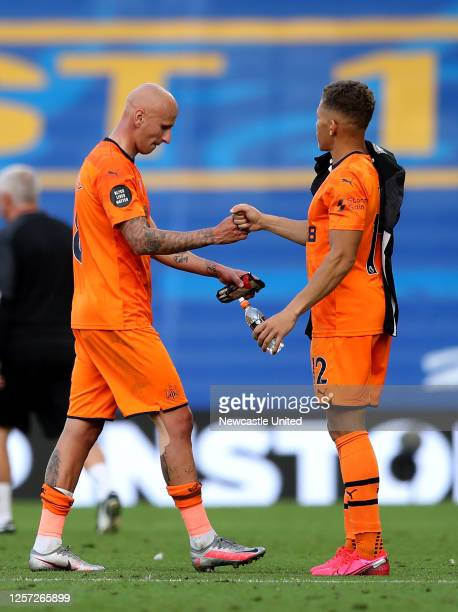 Jonjo Shelvey of Newcastle United interacts with teammate Dwight Gayle at fulltime after the Premier League match between Brighton Hove Albion and...
