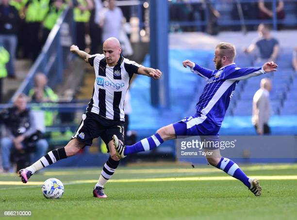 Jonjo Shelvey of Newcastle United passes the ball during the Sky Bet Championship Match between Sheffield Wednesday and Newcastle United at...