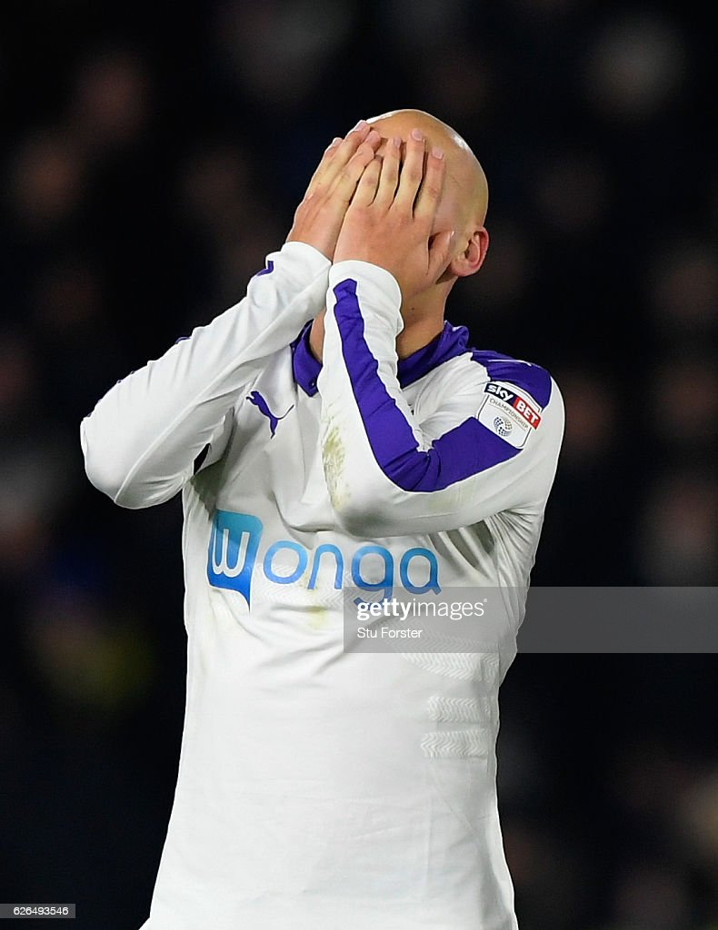 Jonjo Shelvey of Newcastle United (12) reacts during the penalty shoot out during the EFL Cup Quarter-Final match between Hull City and Newcastle United at KCOM Stadium on November 29, 2016 in Hull, England.