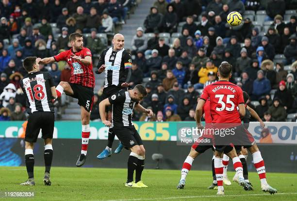 Jonjo Shelvey of Newcastle United scores his team's first goal during the Premier League match between Newcastle United and Southampton FC at St...