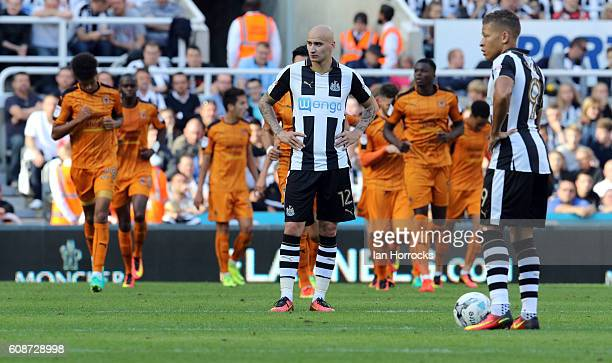 Jonjo Shelvey of Newcastle waits to restart after the second Wolves goal during the Sky Bet Championship match between Newcastle United and...