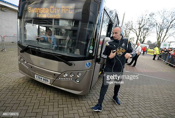Jonjo Shelvey of Swansea arrives prior to the Barclays Premier League match between Hull City and Swansea City at KC Stadium on December 20 2014 in...