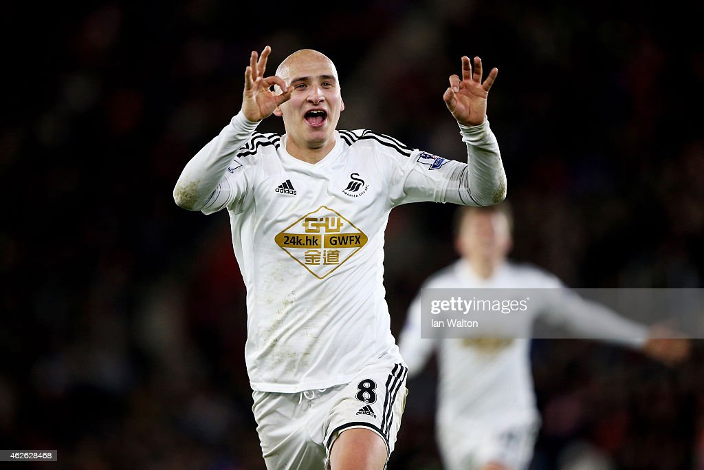 Jonjo Shelvey of Swansea City celebrates after scoring the opening goal during the Barclays Premier League match between Southampton and Swansea City at St Mary's Stadium on February 1, 2015 in Southampton, England.