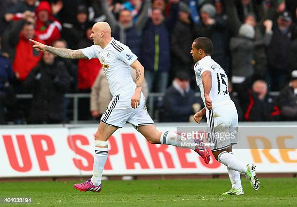 Jonjo Shelvey of Swansea City celebrates scoring their second goal with Wayne Routledge of Swansea City during the Barclays Premier League match...