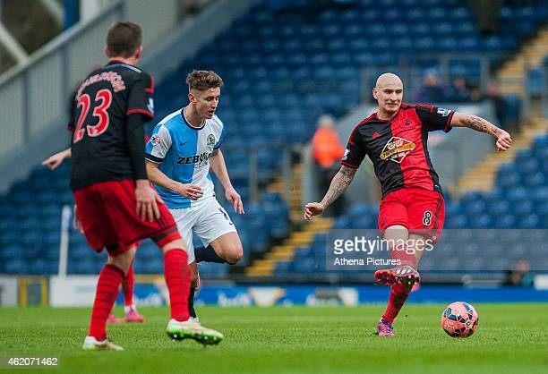 Jonjo Shelvey of Swansea City passes the ball out during the FA Cup Fourth Round match between Blackburn Rovers and Swansea City at Ewood park on...