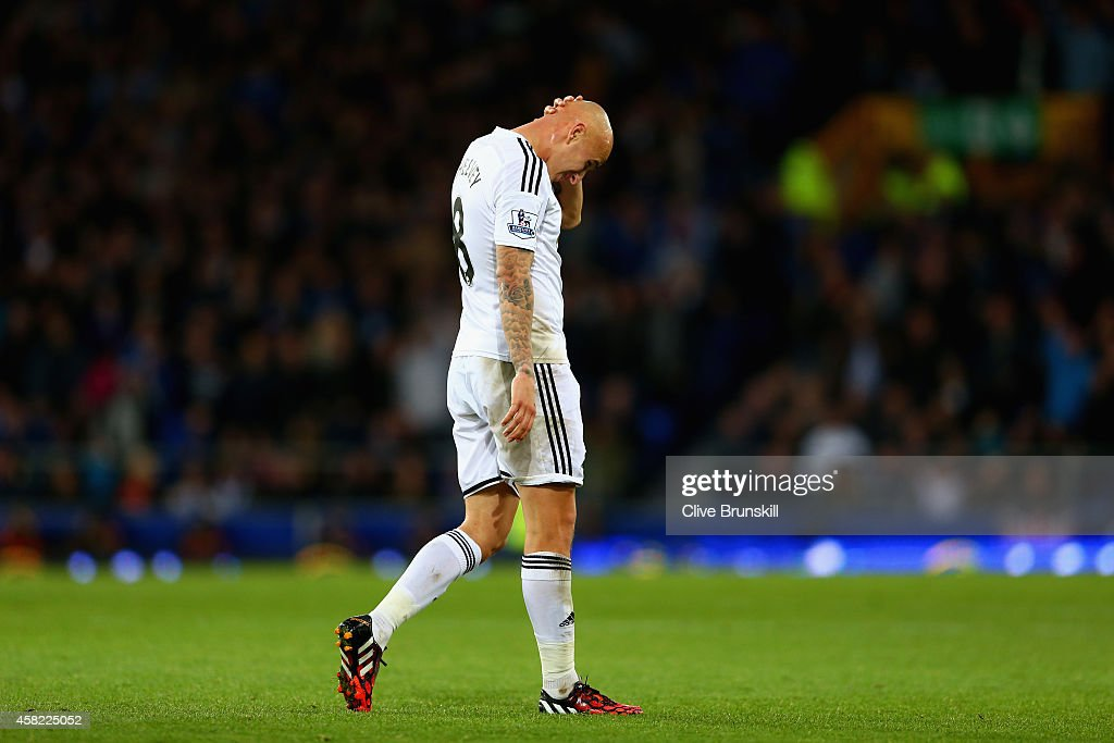 Jonjo Shelvey of Swansea City reacts after being sent off for a second yellow card during the Barclays Premier League match between Everton and Swansea City at Goodison Park on November 1, 2014 in Liverpool, England.