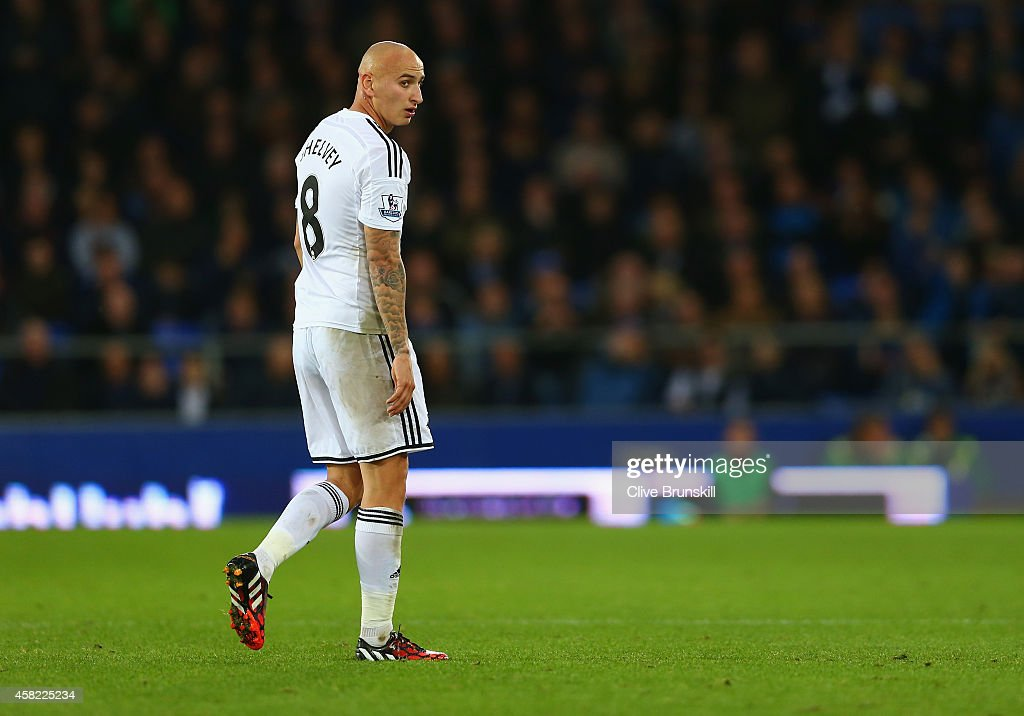 Jonjo Shelvey of Swansea City walks off the field after being sent off for a second yellow card during the Barclays Premier League match between Everton and Swansea City at Goodison Park on November 1, 2014 in Liverpool, England.