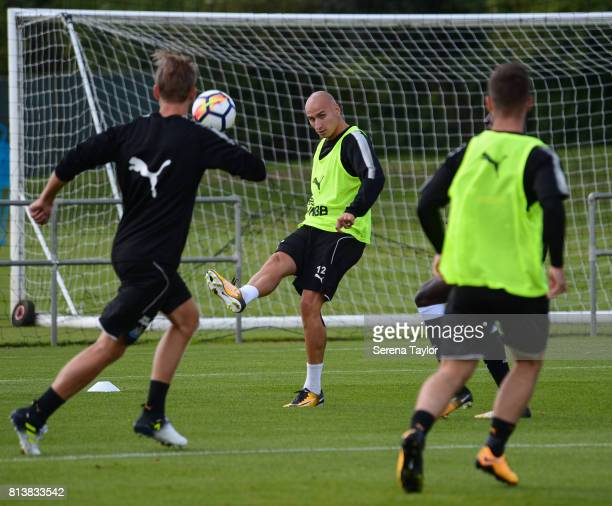 Jonjo Shelvey passes the ball during the Newcastle United Training session at the Newcastle United Training Centre on July 13 in Newcastle upon Tyne...