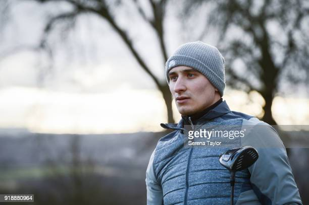 Jonjo Shelvey poses for photographs during a photo shoot at Close House Golf Club in Newcastle upon Tyne on February 2 in Newcastle upon Tyne England