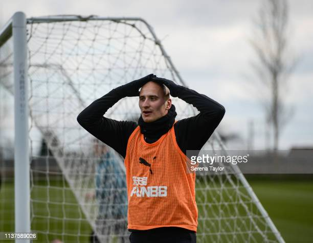 Jonjo Shelvey puts his hands on his head during the Newcastle United Training Session at the Newcastle United Training Centre on March 22 2019 in...